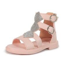 New Fashion Crystal Princess Roman Girl Beach Shoes Big Kids Leather Sa