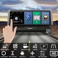 8 Polegada tela de toque do carro hd dupla lente traço cam wifi gps condução gravador vídeo dvr Molduras de estilo     -