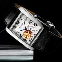 BINLUN Mens Watches Rectangle Tourbillon Mechanical Wristwatches Hamiltone ChronographLuxury Mens Skeleton Watch for Male