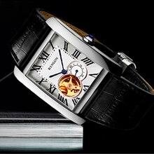 Мужские прямоугольные наручные часы BINLUN с турбийоном, механические часы хронограф, Роскошные мужские часы скелетоны для мужчин