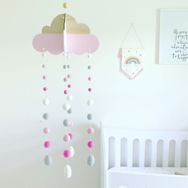 INS Wooden Cloud With Wool Balls Pendant Kids Room Decoration Wall Hanging Ornaments Wind Chimes Baby Tent Bed Bell Photo Props