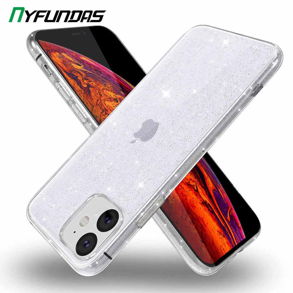 IPhone 11 Pro Max durumda temizle Glitter Bling ince esnek TPU koruyucu arka kapak iPhone XR X XS 8 artı 7 6 6S tampon