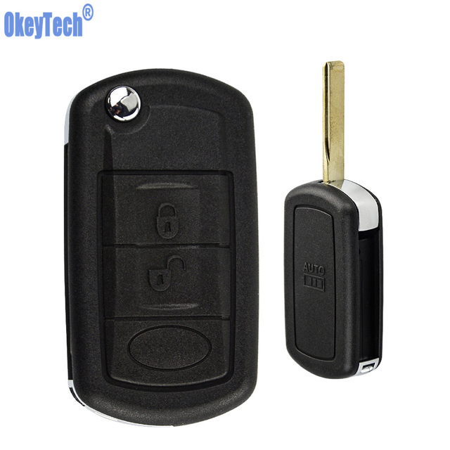 OkeyTech for Land Rover Range Rover Sport LR3 Discovery Evoque Freelander Discovery Sport Flip Key Shell Case 3 Buttons Has Text