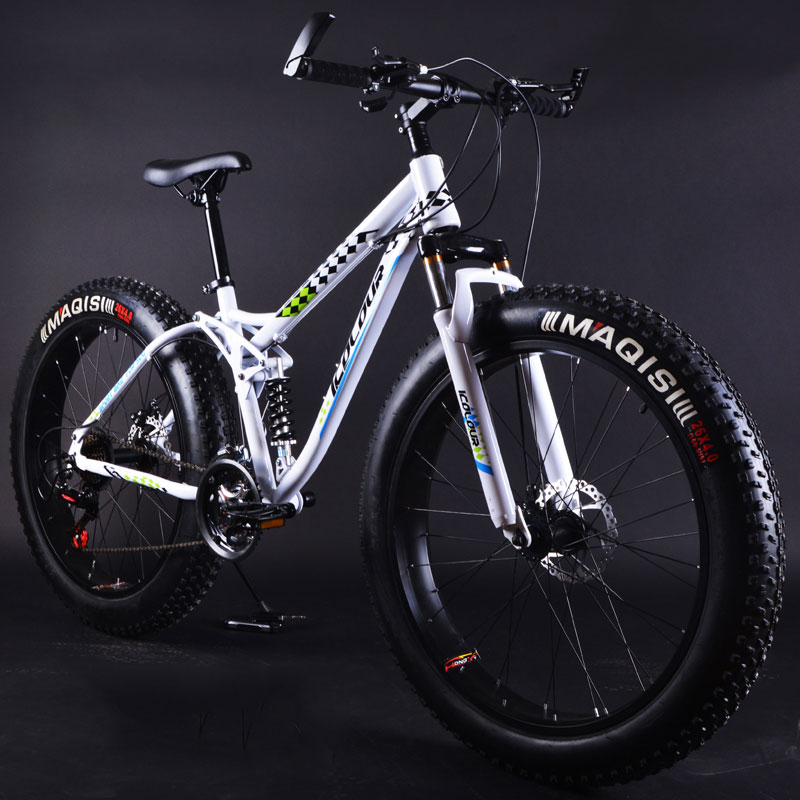 Snow Bike 26 Inch Shock Absorption Double Disc Brakes Beach Bold Tire Speed Off Road Mountain Bicycle
