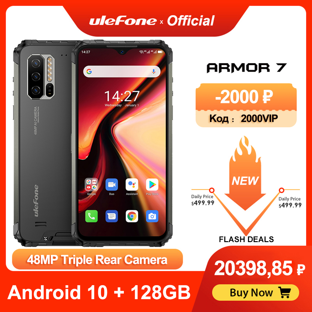 Ulefone-Smartphone Armor 7, móvil robusto, Android 10, Helio P90, 128GB + 8GB, 2,4G/5G, wi-fi, IP68, cámara de 48MP, 4G LTE, versión Global