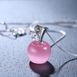 NEHZY, серебро 925 пробы, новинка, женские модные ювелирные изделия, высокое качество, розовый опал, форма яблока, кулон, ожерелье, длина 45 см