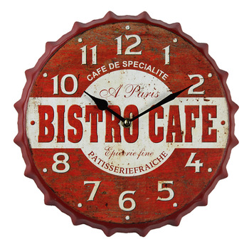 European Metal Wall Clock Modern Design Vintage Retro Beer Cover 3D Decoration Clocks Wall Watch Cafe Bar Home Decor 14 inch