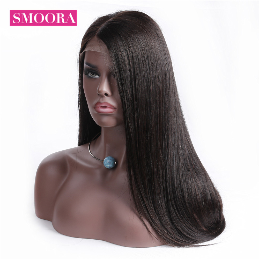 Straight Full Lace Human Hair Wigs For Women Brazilian Remy Hair 150% Density Natural Hairline Long Full Lace Wig 10-26 Inches