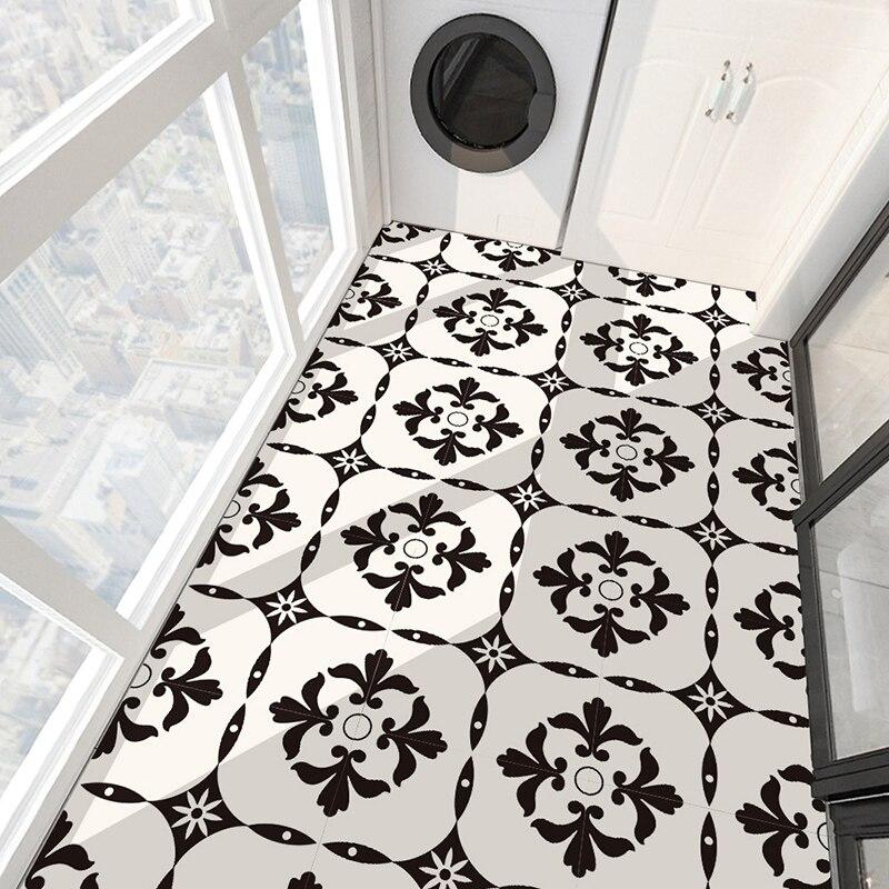 Имитация Европейской креативной черно-белой керамической плитки, украшение для пола в спальню, водонепроницаемое самоклеящееся напольное покрытие из ПВХ