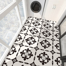 Imitation European Creative Black and White Ceramic Tile Bedroom Floor Decoration Waterproof Self-adhesive Flooring Vinyl PVC