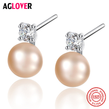 AGLOVER New Earrings Natural Freshwater Pearl 100% 925 Silver Zircon Inlay Pearl Stud Earrings For Women Jewelry Female Gift