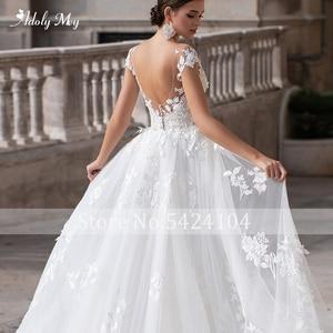 Image 5 - Adoly Mey Romantische Hals Cap Sleeve Mermaid Wedding Jurken 2020 Prachtige Applicaties Afneembare Trein Prinses Bruids Jurk