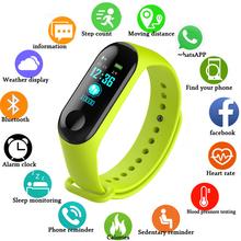 Zegarek Fitness M3 kolorowy ekran inteligentna bransoletka sportowa aktywność Running Tracker tętno dla dzieci zegarki damskie męskie godziny tanie tanio HAIMAITONG CN (pochodzenie) Z systemem Android Wear Na nadgarstek Zgodna ze wszystkimi 64GB Krokomierz 13MP english Wodoodporność na wysokim poziomie