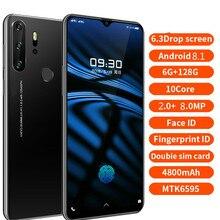Smartphone Android 4G X23 telefony komórkowe wersja globalna 6.3 Cal Dual Sim wersja globalna odblokowany ekran kropli wody telefonu komórkowego