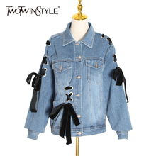 TWOTWINSTYLE Streetwear Denim Jacket For Women Lapel Collar Long Sleeve Hollow O