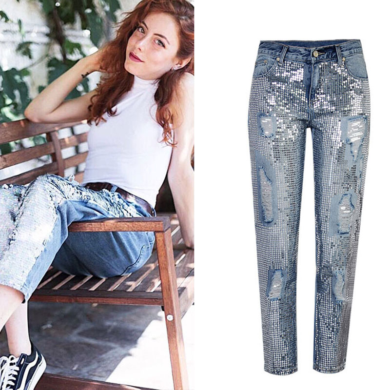 Cool Women Jean Pants Midi-Waist Ripped Jeans For Women Fish Scale Sequins Hole Straight Pants Jean Pencil Pant Vintage Trousers
