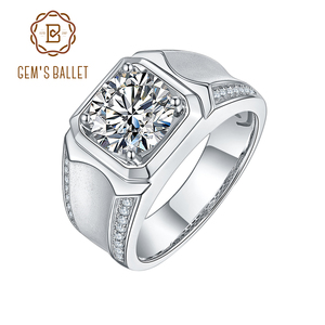 GEM'S BALLET Luxury 925 Sterling Silver 1ct 2 ct 3ct D Color Moissanite Rings Men Modern Ring For Anniversary Father's Day gift