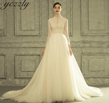 Royal High Neck Ball Gown Princess Wedding Gowns Long Sleeves Lace Pearls Wedding Dress Plus Size Gelinlik W225