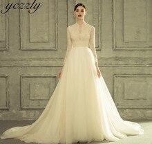 Royal col haut robe de bal princesse robes de mariée manches longues dentelle perles robe de mariée grande taille Gelinlik W225