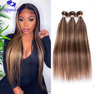 Highlight Bundles Brazilian Straight Human Hair Bundles Ombre Brown Straight Hair Bundles 3 Bundles Remy Human Hair Extensions