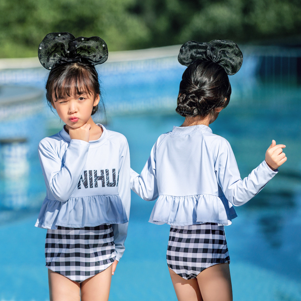 19 New Style Hot Sales Two-piece Swimsuits Send Swimming Cap Long Sleeve Flounced Plaid Flounced Hot Springs Girls KID'S Swimwea
