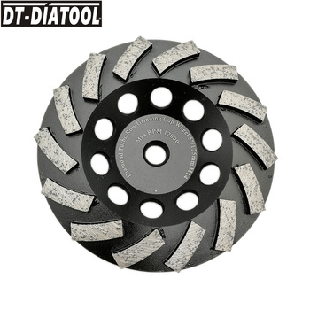 DT-DIATOOL 1pc M14 Thread Dia125mm/5inch Diamond Segmented Turbo Row Cup Grinding Wheel For Concrete Hard Stone Granite Marble