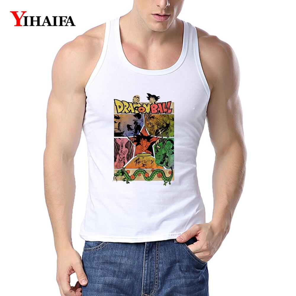 YIHAIFA Mens Tank Top gym clothing Cartoon Graphics Singlet Bodybuilding Fitness muscle Shirt mens workout shirts