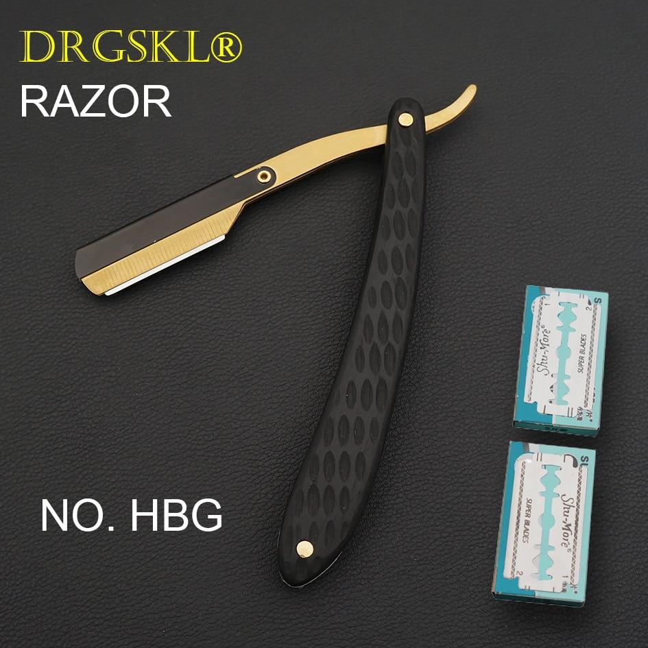 DRGSKL Men's Manual Shaving Razors Classic Blackwooden Handle Barber Shaver Hairdresser Razor Change Blade Type Rzaor NO.HBG