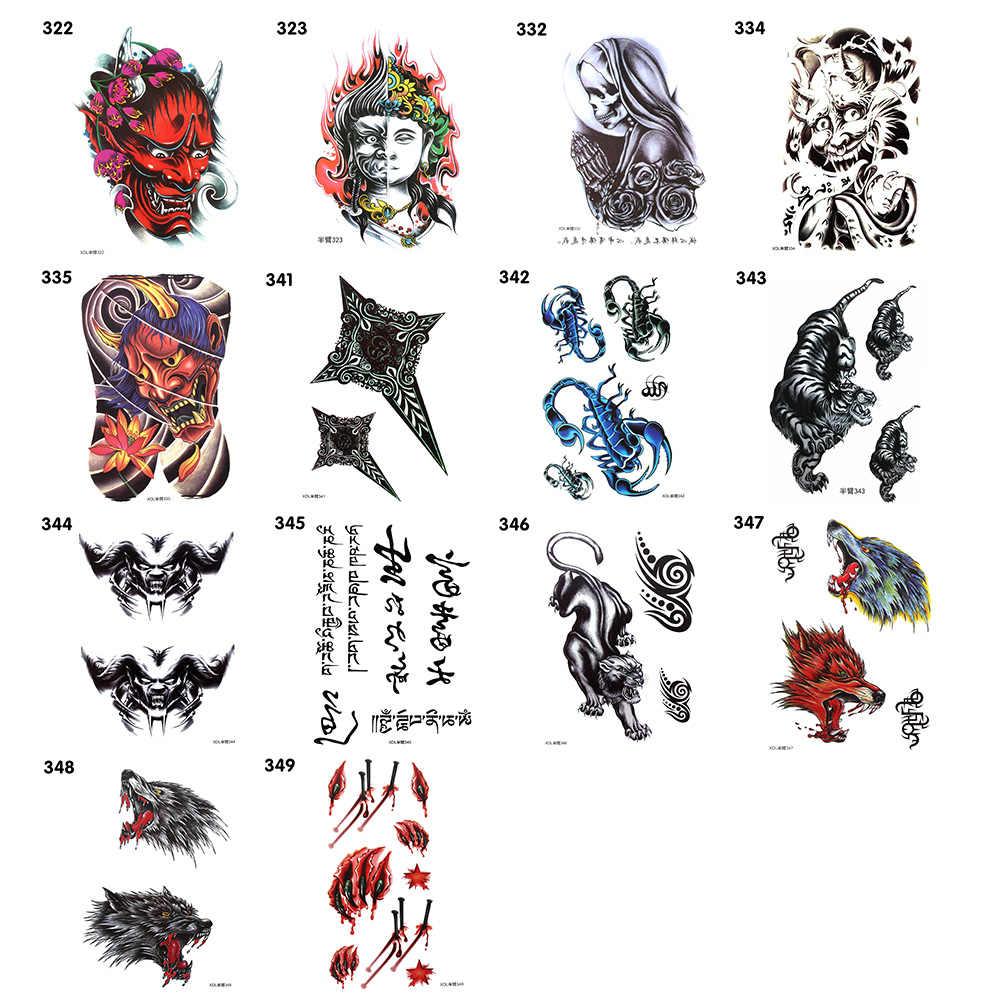 1PC Arte de Longa Duração À Prova D' Água Etiqueta Do Tatuagem Temporária Corpo Braço Perna Unissex 21cm x 15 30 Tipos de Estilo cm Falsa Tatuagem Hallowen