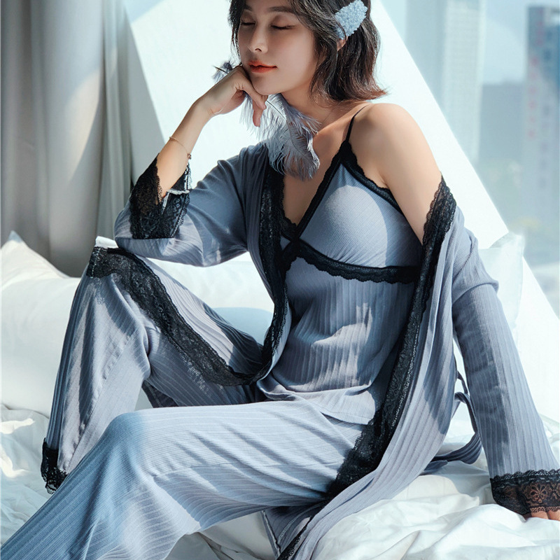 Autumn Winter 2019 Women 100% Cotton Pajamas Sets 3 Pieces Lace Pyjamas Sleepwear Elegant Lace Nightwear Pijama Homewear