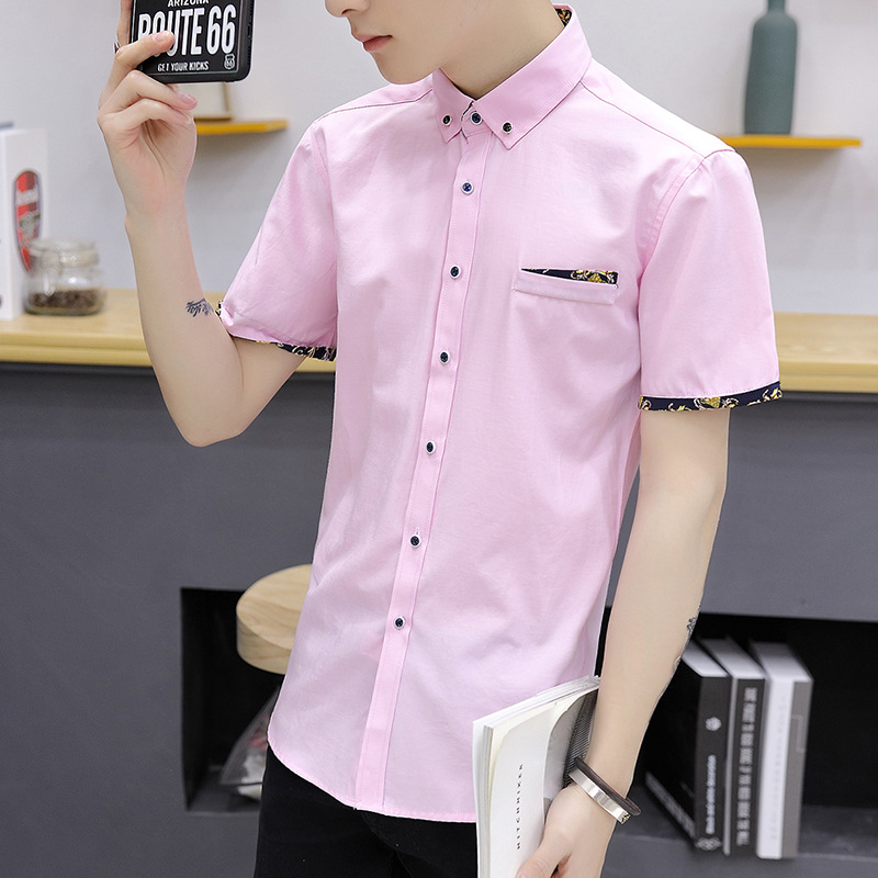 2020 Summer Short-sleeved Shirt Male Middle-aged Men's Shirt Casual Middle-aged Shirt