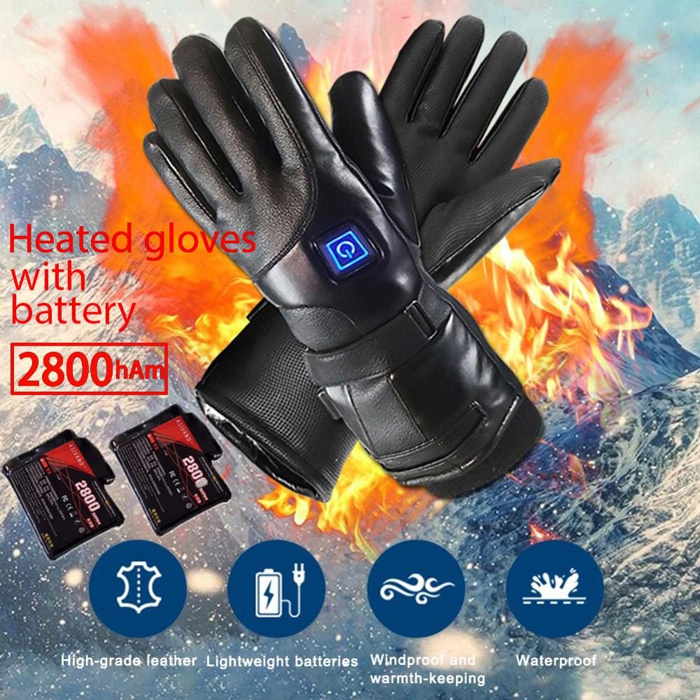 Heated Gloves Skiing Electric Rechargeable Camping Battery-Powered Warm Winter Outdoor title=