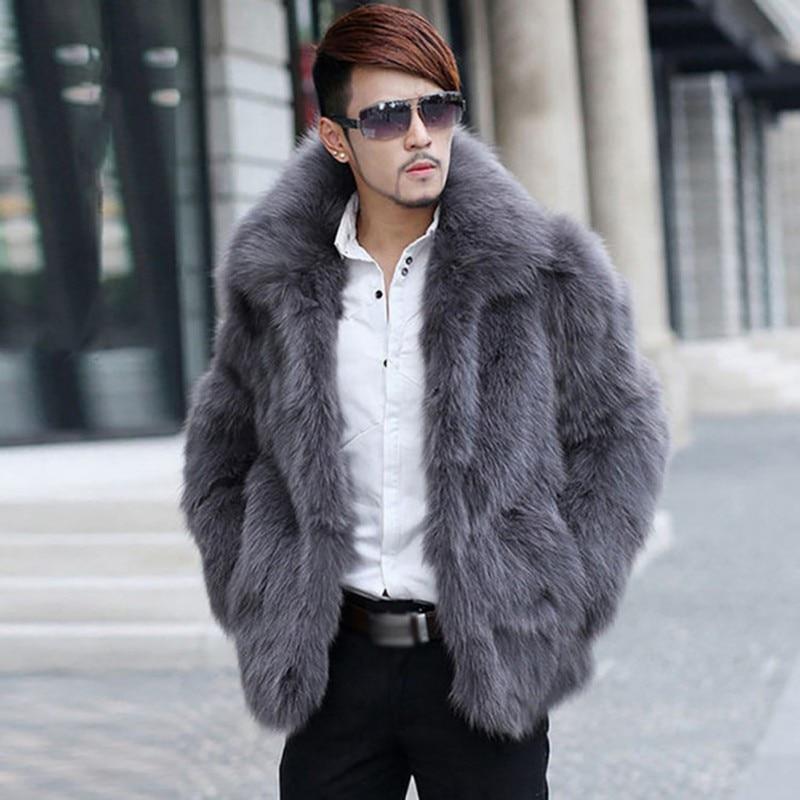 2019 hommes fausse fourrure manteaux vêtements à manches longues col rabattu poilu pardessus vêtements d'hiver chauds poilu manteau jaqueta de couro *