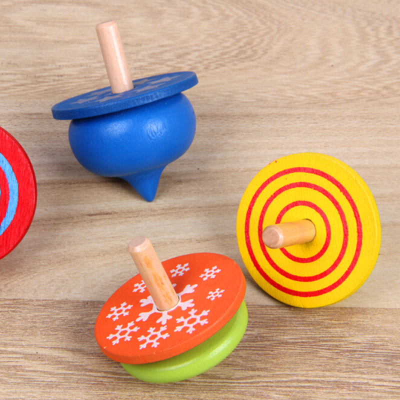 4Pcs/Lot New Wooden Toy Colorful Spinning Top Montessori Magic Classic Toys Spinning Top Educational Birthday Gift