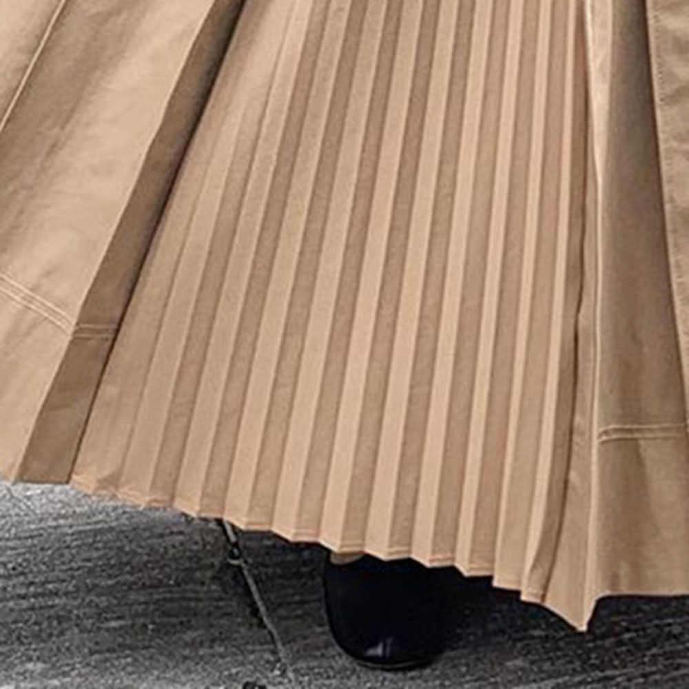 日本非対称カジュアルプリーツスカート女性無地カーキ原宿ヒップスターオフィスレディースプラスサイズハイウエストロングスカート韓国