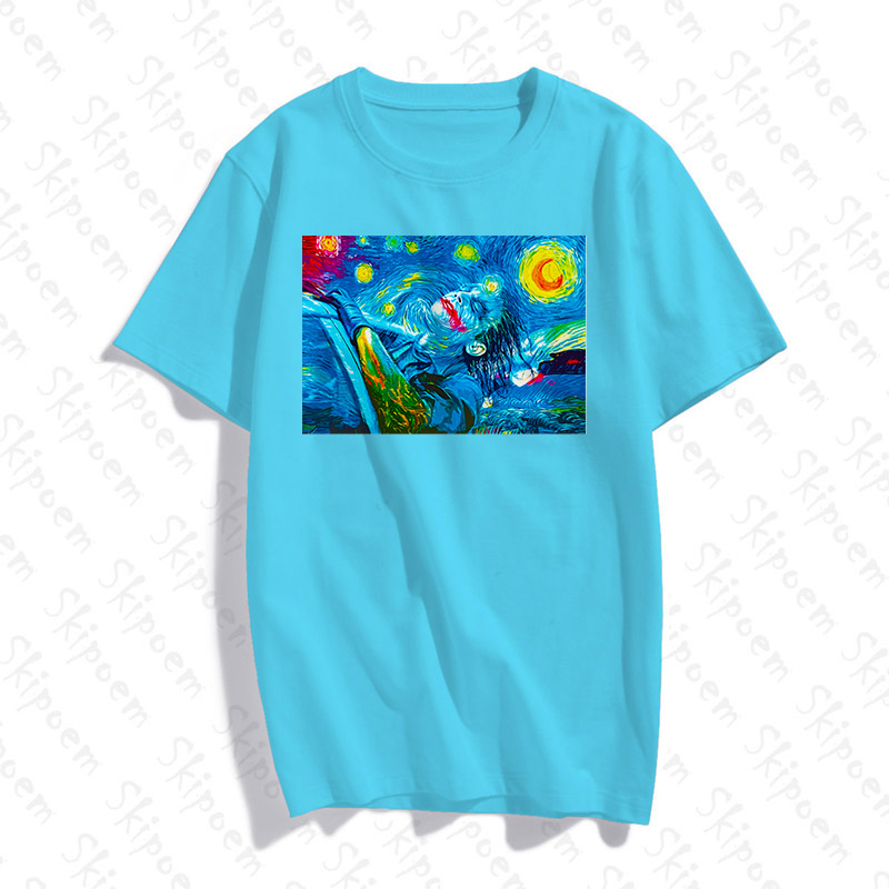 Turquoise Girl Short-Sleeve Crewneck Polyester T-Shirt,Abstract Ocean
