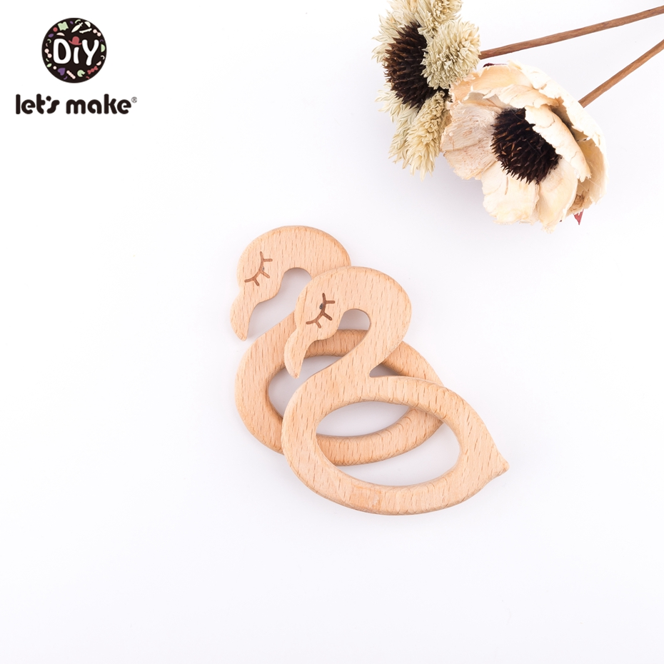 Let's Make Baby Wooden Teether Swan 5Pcs Beech Wood Beauty Swan Bpa Free For Baby Teether Toy