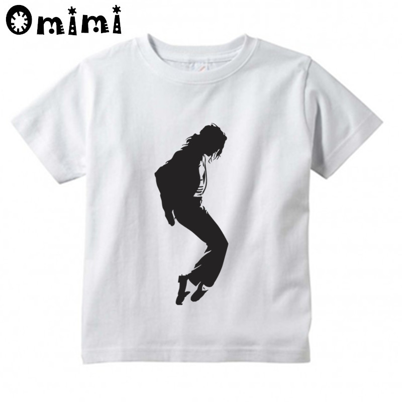 Boys/Girls MJ Michael Jackson Printed T Shirt Kids Casual Short Sleeve Tops Children's Funny White T-Shirt