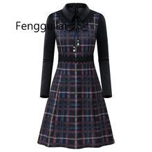 FENGGUILAI Women Grid Stripe Dress Elegant Lady Office Long Sleeve Tunic Bandage Midi Plus Size Autumn Winter