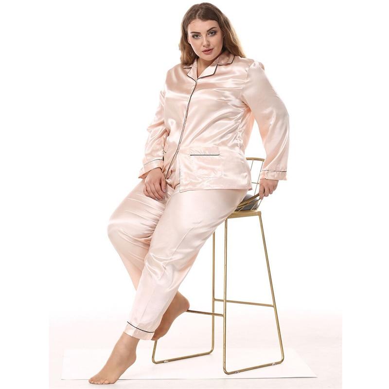 Satin Silk Pajamas For Women's Set Pyjamas Summer Pigiama Donna Pjs Mujer Pijama Sleepwear Nightwear Pizama Damska Plus Size 3XL