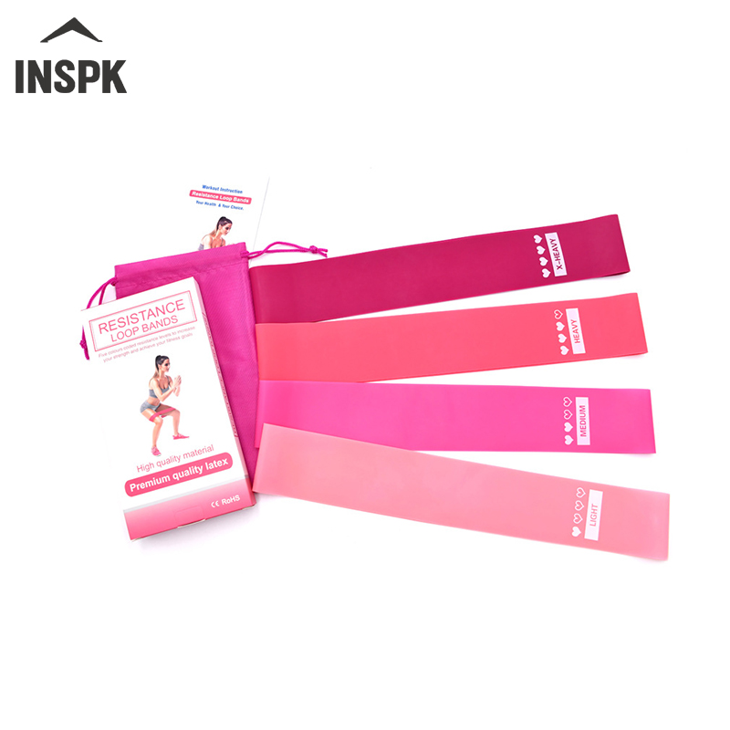 INSPK Yoga Elastic Fitness,4 Colors Outdoor Fitness Equipment,0.5mm-1.1mm Rubber Bands With Bag And Instruction For Yoga,fitness