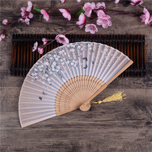 Flower-Fan Hand-Fans Folding Chinese Decor Pocket-Gifts Bamboo Dance-Party Dancing Vintage