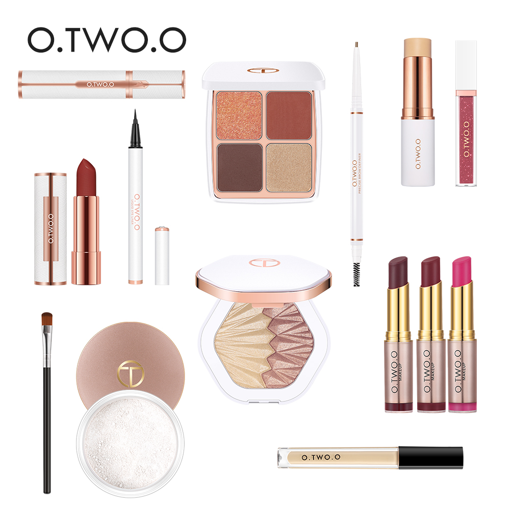 O.TWO.O 14pcs/lot Cosmetic Kit Full Makeup Set Include Eyeshadow Palette Lipstick Concealer Foundation Stick Eyebrow Eyes Brush