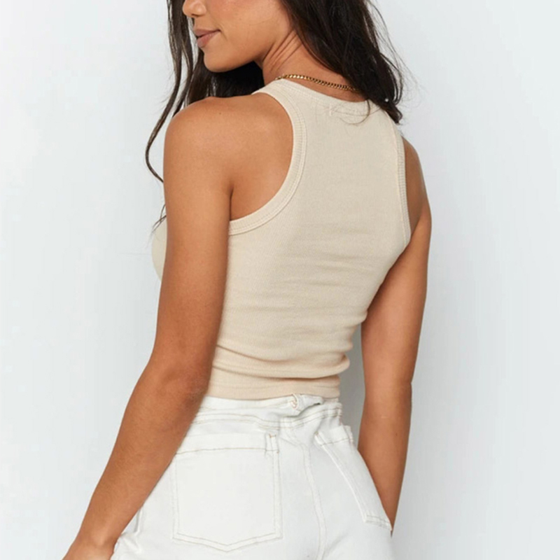 Ribbed Tank Top Women White 2020 Summer Casual Fitness Short Vest Candy Colors Knitted Off Shoulder Sexy Crop Top Women 6