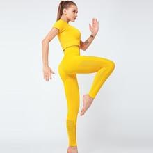 2 Pcs Yoga Sport Anzug Aushöhlen Kurzarm Fitness Crop Top + Nahtlose Leggings Strumpfhosen Frauen Sportswear Gym Set workout Kleidung