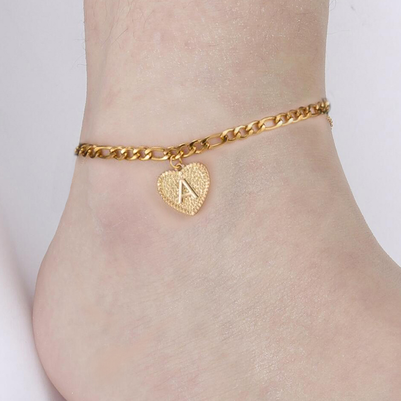 26 A-Z Intial Anklet Anklets Heart Shape Name Alphabet Ankle Stainless Steel Chain Jewelry Friendship BFF Accessories