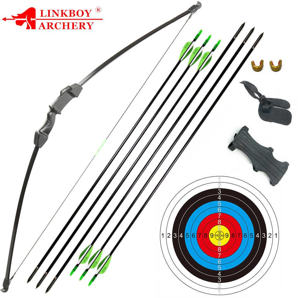 Panahan Recurve Takedown Busur dan Anak Panah Set 15-20lbs untuk Pemuda Dewasa Praktek Kayu Lurus Busur Longbow Kit Mainan Anak