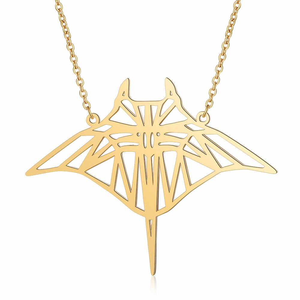 100% prawdziwa stal nierdzewna 40cm duża Manta Ray Fish długi naszyjnik Trend naszyjniki biżuteria specjalny prezent