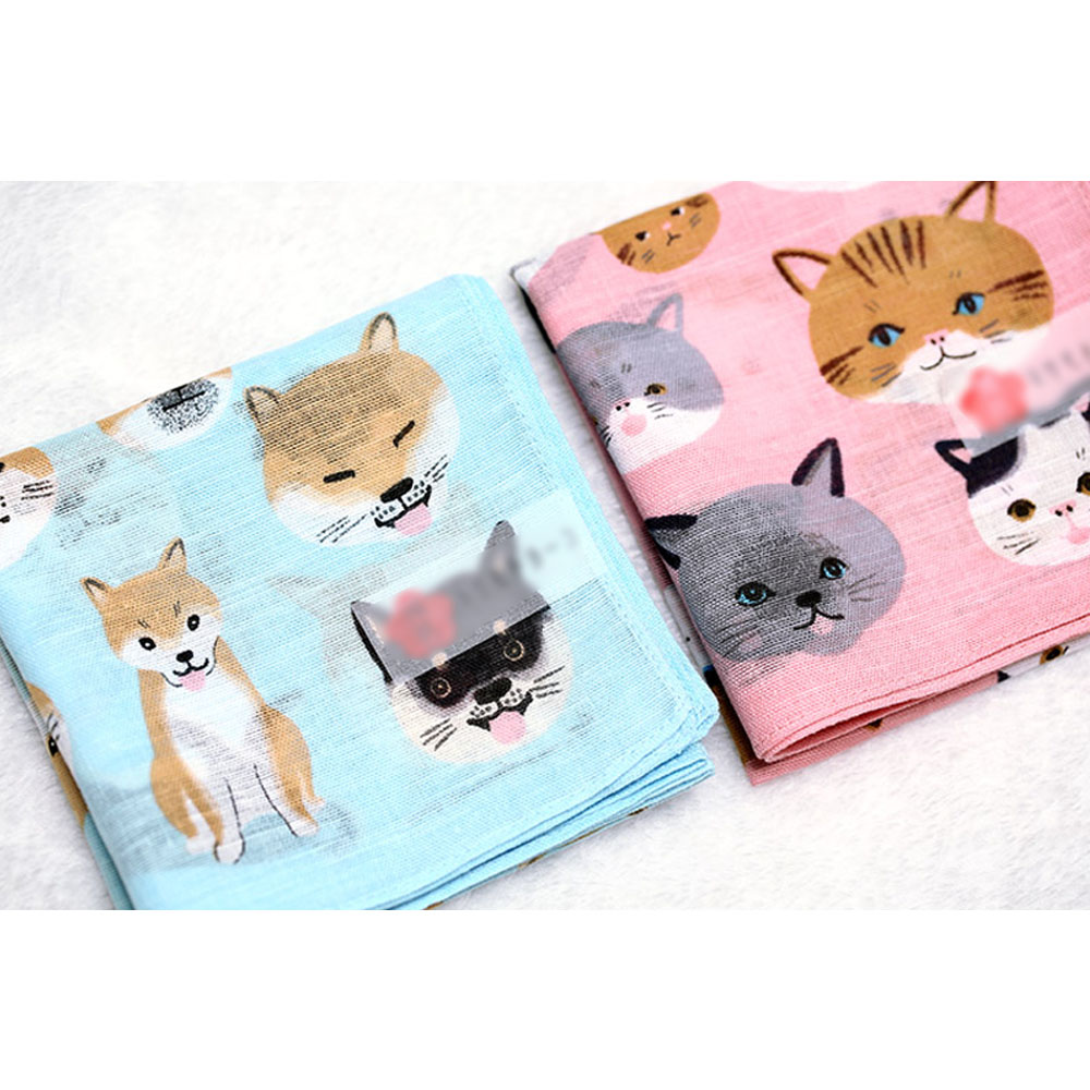48cmX48cm Cute Women Handkerchiefs Children's Square Soft Cotton Hankies Cat Dog Pattern Printing Handkerchief Gifts For Lovers