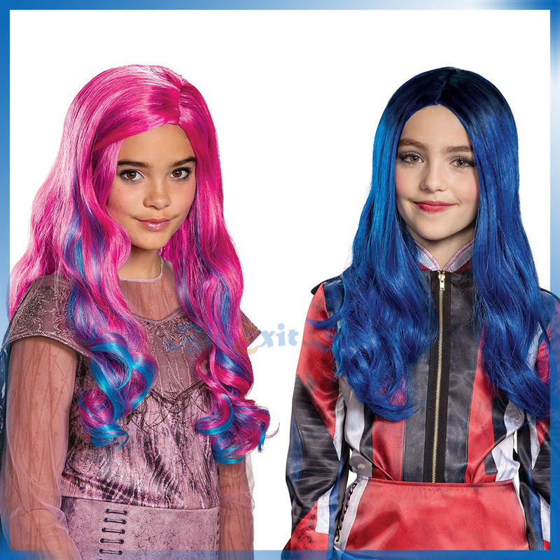 Movie Descendants 3 Audrey Mal Wig Child Girls Cosplay Hair Gradual Blue Pink Long Curly Comic Con Children Synthetic Wig